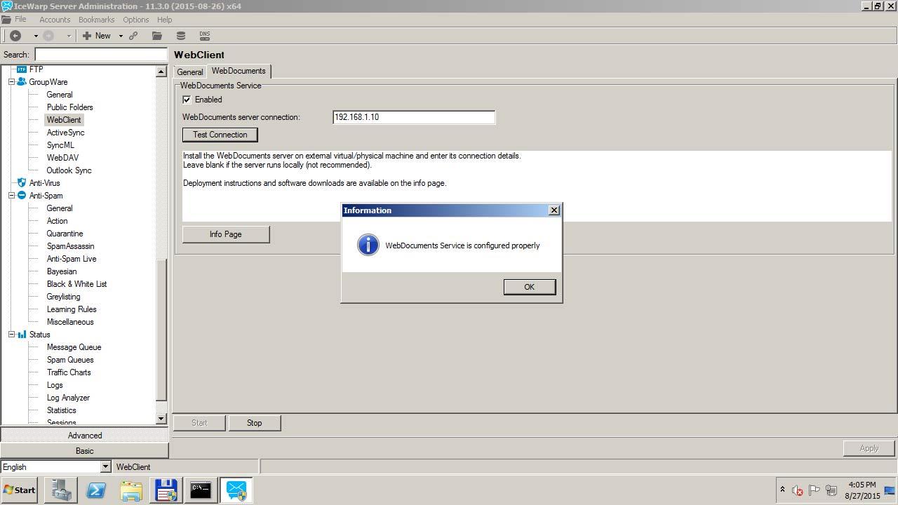 Konfiguruj serwer IceWarp